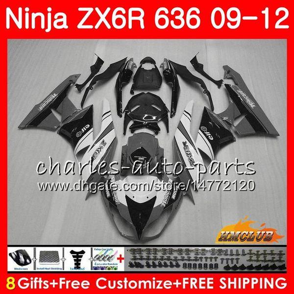 Corpo para KAWASAKI ZX-6R ZX-6R ZX-636 ZX 6R ZX6R 09 10 2011 2012 33NO.154 ZX636 cinza branco quente ZX600 ZX 636 600CC 6 R 2009 2010 11 12 Carenagem