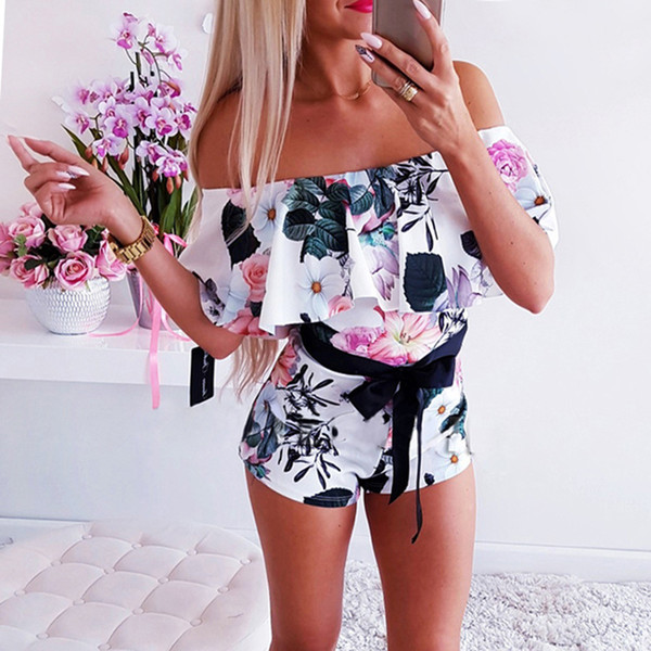 New Women Playsuits Flower Off Shoulder Sashes Ruffles Design Romper Sexy One Piece Jumpsuit Summer Beach Playsuits Holiday Hot