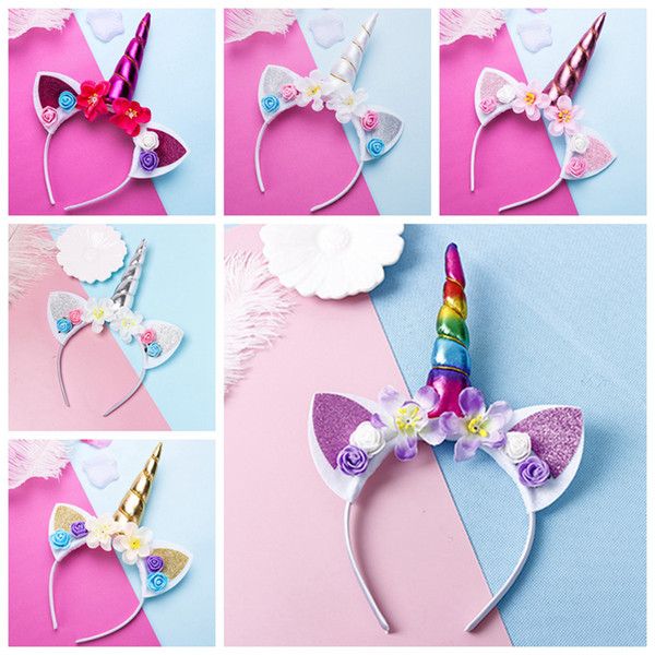 best selling Cute Magical Unicorn Horn Head Party Kid Girl Hair Headband Fancy Dress Cosplay Decorative Hair Accessories 6style RRA2028