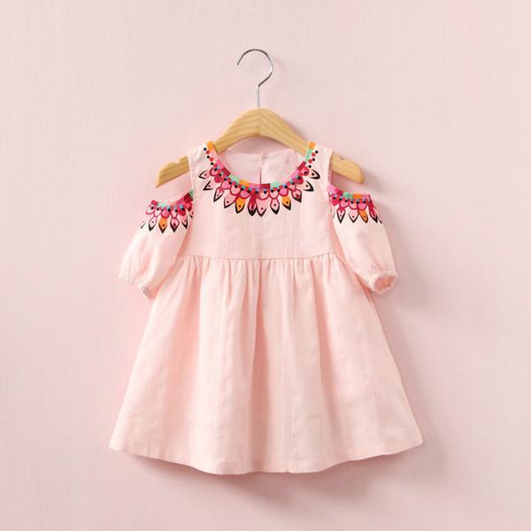 Kızlar baskılı etek halk giysileri Çocuk Çiçek elbise yaz pamuk askısız prenses elbiseler çocuk giyim LLA06