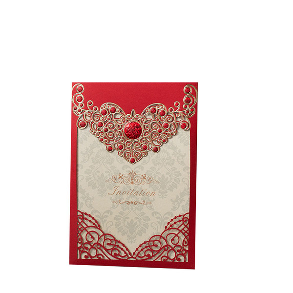 Red Gold Laser Cut Crown Flora Wedding Invitations Card Greeting Cards Customize Envelopes Wedding Event Party Decoration Birthday Greetings Card
