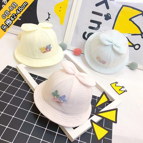 Chapeau pour enfant printemps et en automne hommes et femmes bébé chapeau de pêcheur bow cover soleil bonnet de soleil couleur coton petit chapeau de princesse