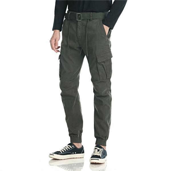 Herbst Cargo Pants Men 2019 Mens Street Joogers Pants Black Cotton Sweatpant Male Hip Hop gerade Hose Overalls NO Gürtel