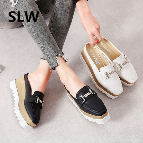metal decorate wedges slides woman thick bottom anti-skid muffins female platform slippers spring summer casual mules shoe