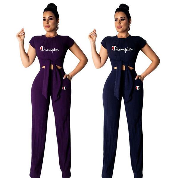 Champions lettre tricot tissu tenue femmes noeud papillon T-shirts à jambe large pantalon ample 2 pièce ensemble été survêtement rue vêtements ensemble A3147