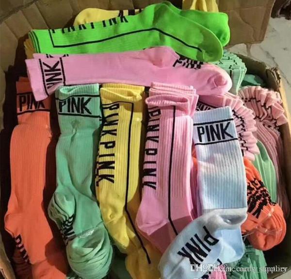 Women Love Pink Stockings Knee High Socks Fashion Socks Sports Football Cheerleaders Long Socks Cotton Pink Leg Warmers