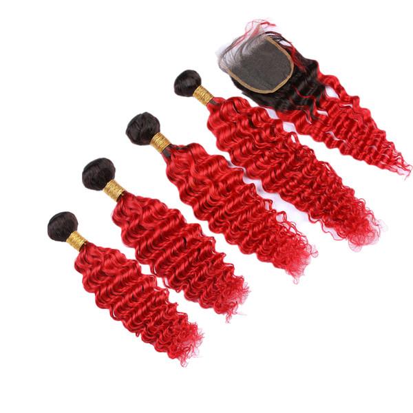 Ombre 1B Красный Цвет Кружева Закрытие С Глубокая Волна Наращивание Волос 5 Шт. / Лот Цвета Красный Deeo Вьющиеся Волосы Утка С Закрытием 4x4