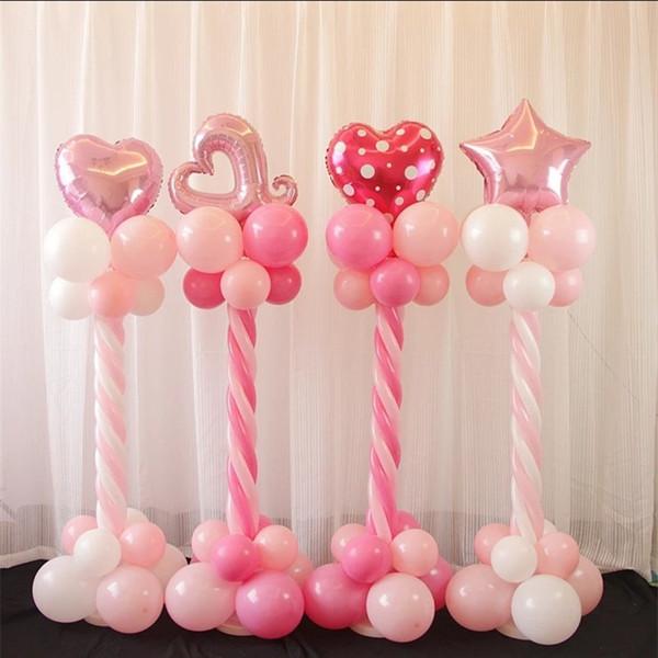 Coluna de balão de filme de alumínio clássico para decoração de casamento Coração de estrela de golfinho em forma de fontes de dia dos namorados Rosa azul 11 Ww