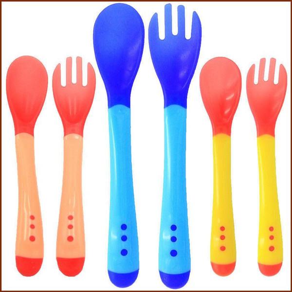Spoon And Fork Thermal Sensing Fork Silicone Tableware Heat Sensing Spoon Hot