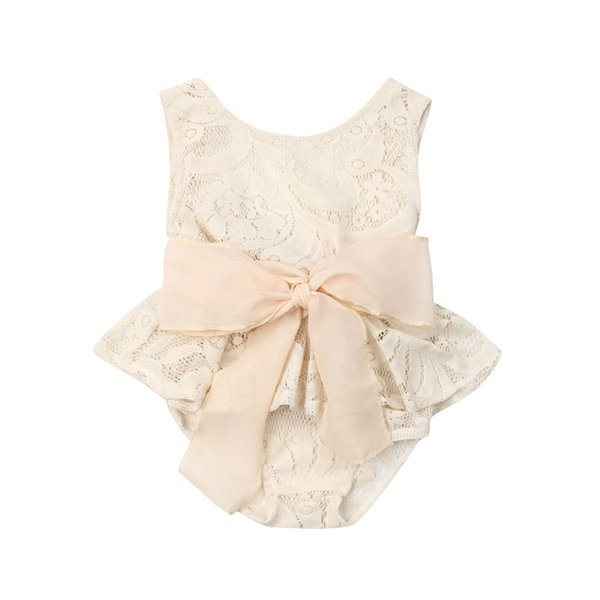 New Summer Newborn Baby Girl Bow Romper Floral Lace Jumpsuit Princess Ruffles Outfits Beige