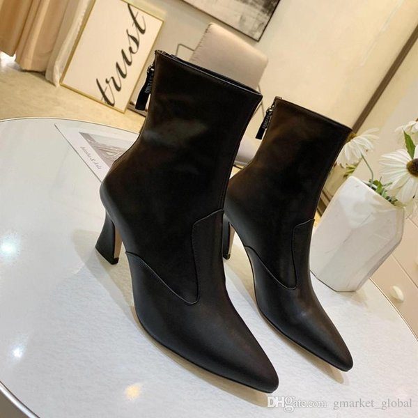 Hot Womens Black nappa leather booties Luxury Designer Boot Women Leather Booties Fashion Non-slip rubber sole Size 35-40