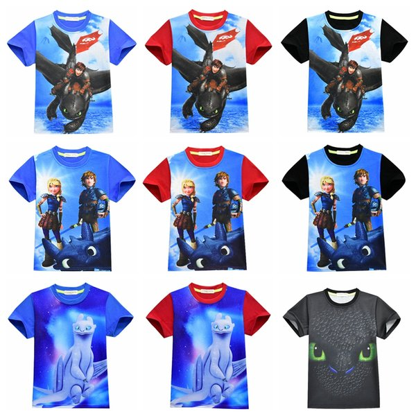 Impressão 3D T-Shirt Como o Seu Dragão 3 Mangas Curtas Meninos Filme Dragão T Shirt Dos Desenhos Animados do Natal Dos Miúdos Do Bebê Menina Tops AAA1882