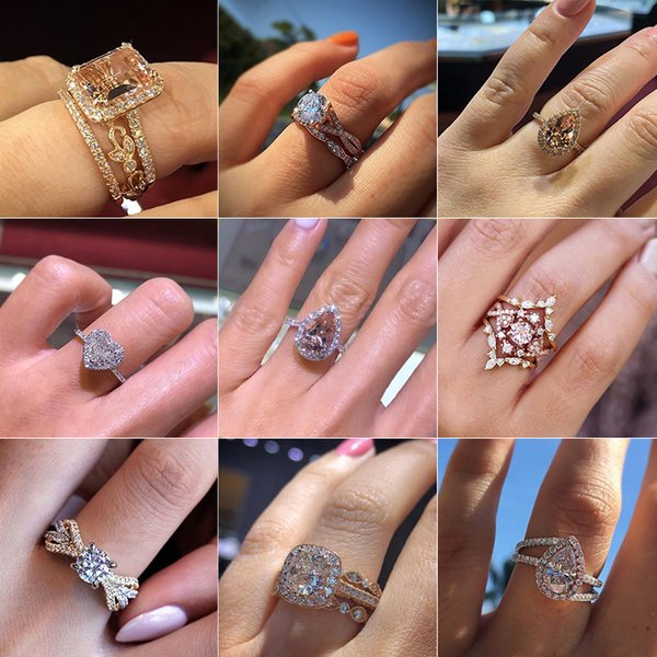 30 Style Fashion Heart Moon Water Drop Snowflake Round Square Crystal Gem Open Ring Female Charm Wedding Party Ring Jewelry Gift