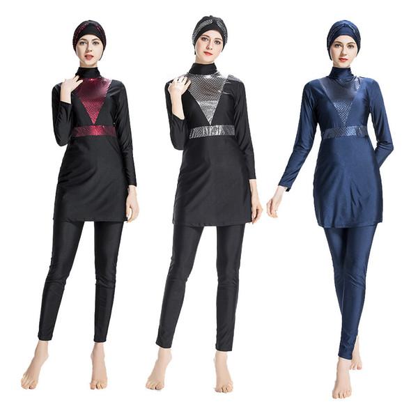 Badpak Fashion.2019 Plus Size Swimwear Stitching May Women Fused Muslim Swimsuit