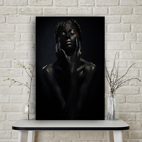 1 Pcs Black Nude African Art Woman Canvas Painting Cuadros Posters and Prints Scandinavian Wall Picture for Living Room No Frame