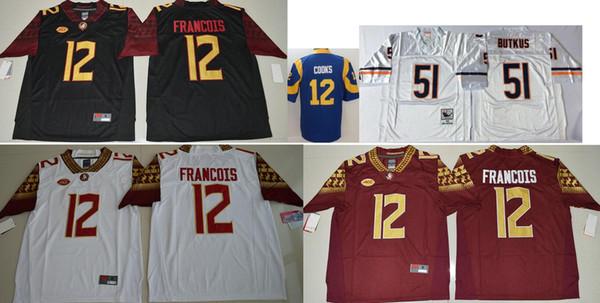 Florida State Seminoles #12 Deondre Francois Mens Vintage College Stitched LA 12 Brandin Cooks 51 Dick Butkus American Football Team Jerseys