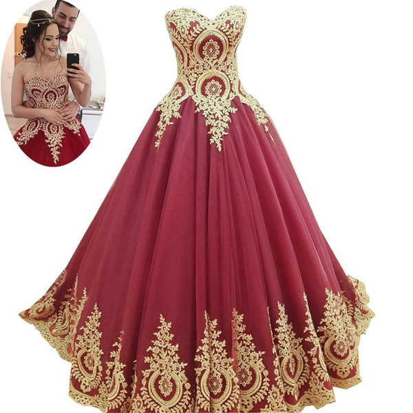 Sexy Wine Red And Gold Wedding Dresses Ball Gown Cheap Price