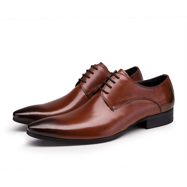Large Size EUR45 Black / Tan / Brown Mens Business Dress Shoes Genuine Leather Wedding Shoes Male Prom Shoes