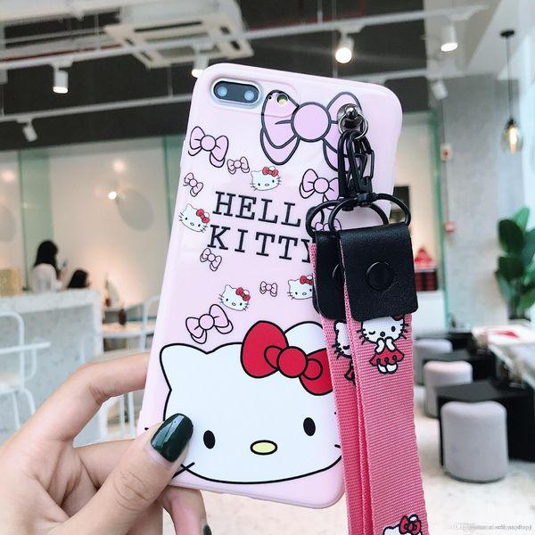 Venta al por mayor Cute Kt Cat Phone Case Todo incluido de silicona para Iphone Xs Max X con funda de teléfono celular Lanyard para Iphone 7 6 Plus