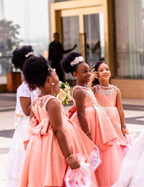 African Black Girl Lace Appliqied A-line Flower Girl Dress Blush Pink Princess Ball Gown Girl Formal Wedding Dress Pageant Party Gown