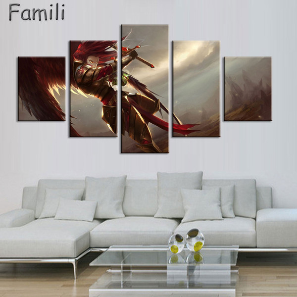 5pcs Unframed Anime Angel Girl Canvas Modular Pictures On The Wall Art Cuadros Decoracion Oil Pictures For Living Room Posters