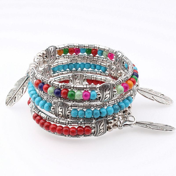 vintage plume Bracelet argent plaqué coloré perles bracelets femmes hommes bracelet bracelets femmes mode bijoux bijoux K3633