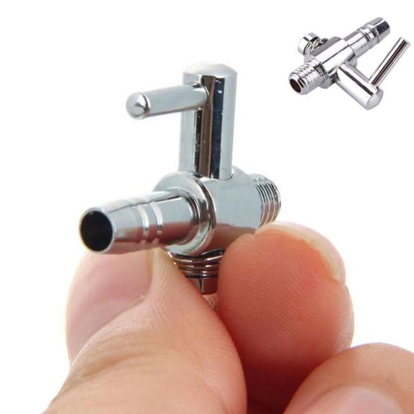 6pcs / set valve de contrôle en acier inoxydable pour réservoir de poissons d'aquarium de débit d'air Distributeur Levier de commande Outils Valve