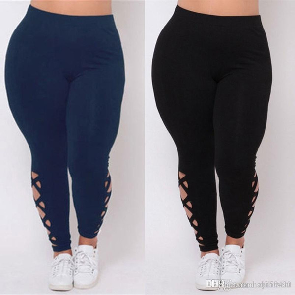 European and American women's trousers of pure color pant foot cross belt large size female trousers small foot leggings