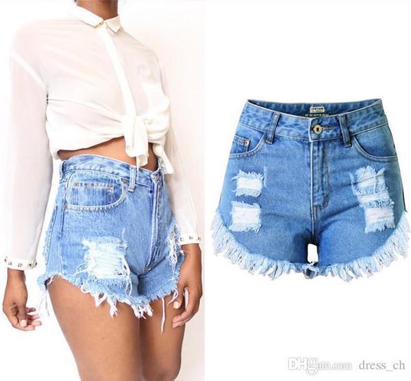 Pantaloncini di jeans casual da donna a vita alta con nappine strappati e nappati strappati