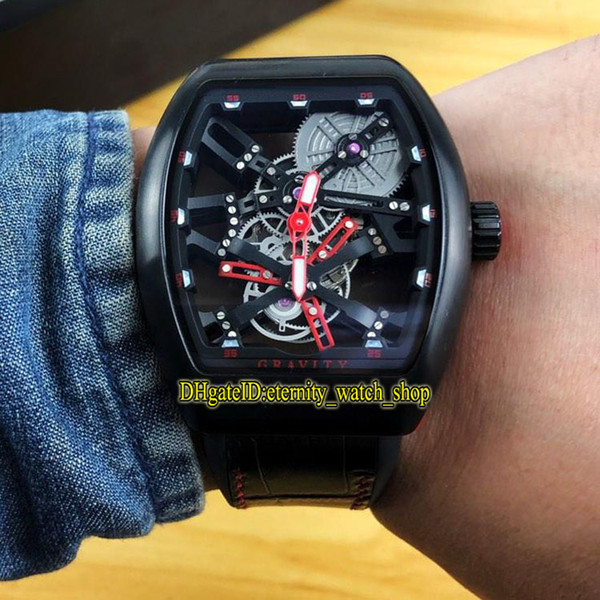 MEN'S COLLECTION Vanguard V 45 T GR CS SQT BR (NR) Red Skeleton Dial Miyota Automatic Mens Watch Black Case Leather Strap Watches