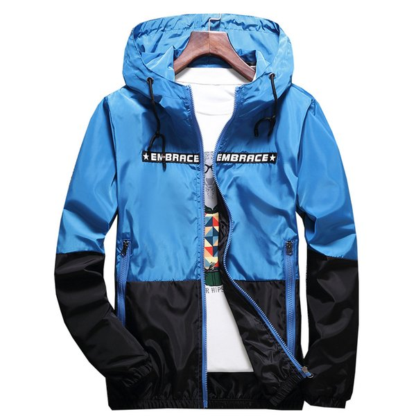 New Spring Autumn Bomber Hooded Jacket Men Casual Slim Patchwork Windbreaker Jacket Male Outwear Zipper Thin Coat Clothing
