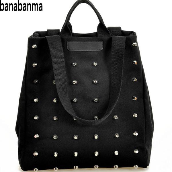 Banabanma Fashion Handbag Leisure Canvas Women's Punk Style Rivets Handbag Classic Black All-match Shoulder Bags for Women ZK40