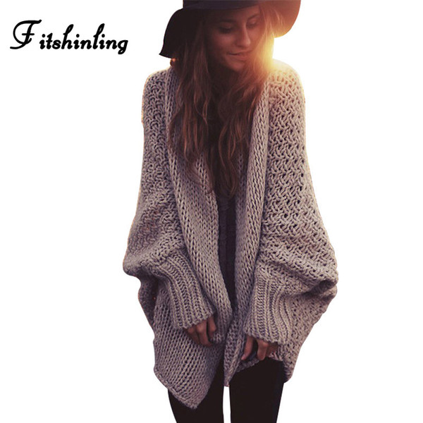 Fitshinling Boho Winter Cardigans For Women Oversize Batwing Sleeve Sweaters Long Cardigan Female Knitted Clothes Khaki Jackets S19802