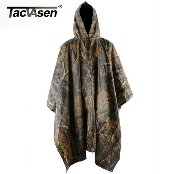 TACVASEN Army Camouflage Raincoat Jungle Multi Functional Poncho Hunt Camp Poncho Mats Scratch-resistant Coat TD-XMLG-002