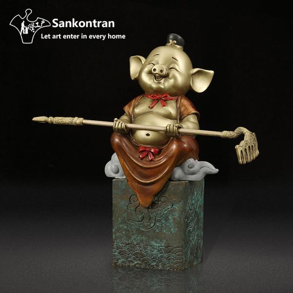 Gold Metal Cast Brass Mini Cute Animal Happy Babe Pig Statue Ornament Collectable Table Decor Hello-Karon Sculpture Figurine
