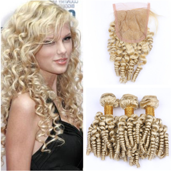 Aunty Funmi #613 Blonde Peruvian Virgin Human Hair Wefts 3Bundles with Closure Blonde Romance Curls 4x4 Lace Front Closure with Weaves