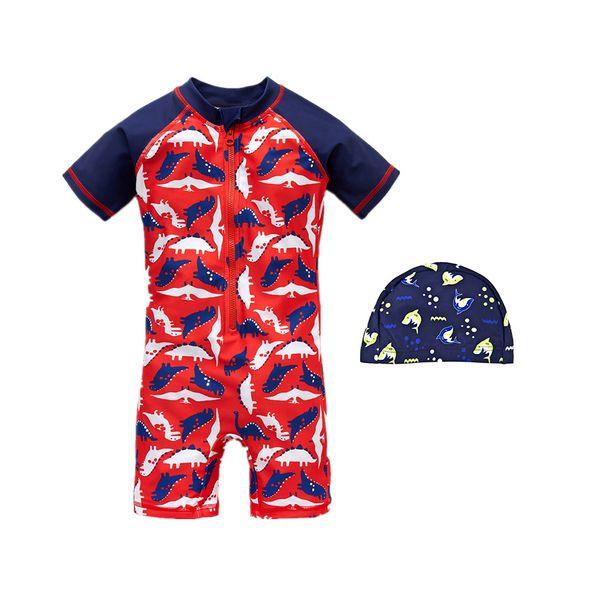 2019 Kavkas New Kids Boys Cartoon Swimsuit One Piece Dinosaur Print Baby Girls Swimwear Beach Suit Short Sleeve Child Bathing