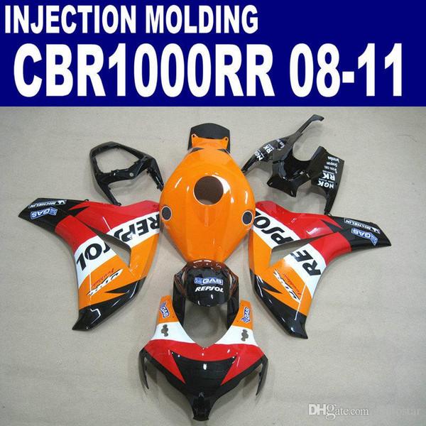 Injection OEM ABS Motorradteile für Verkleidungen Honda CBR1000RR 2008-2011 CBR1000 RR schwarz orange REPSOL Verkleidung Kit 08 09 10 11 # U78