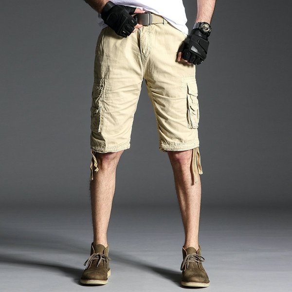2019 Male Shorts Multi Pocket Summer Loose Zipper Plus Size High quality Short Pant Casual Cotton Black Solid Mens Cargo Shorts