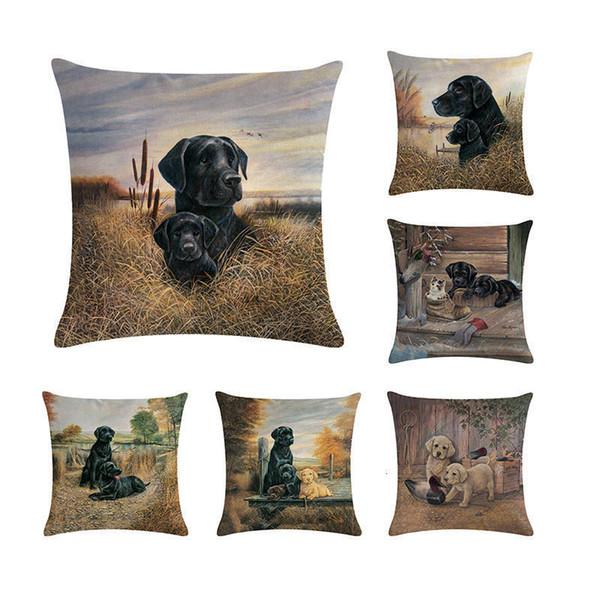 Black Labrador Retriever Cushion Cover Lab Dog Throw Pillow Case Puppy Baby Dog Gifts Decor Animal Car Seat Sham Two Sides ZY245