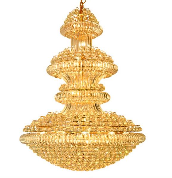 Светодиодные современные хрустальные люстры светильники светильник большой американский золотой хрустальная люстра лобби отеля салон домашнего внутреннего освещения LLFA