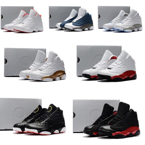 Nike air jordan 13 retro Ucuz Çocuk Basketbol Ayakkabıları 2019 bebek Çocuk Atletik ayakkabı Beyaz kırmızı J13 Erkek Ve Kız Çocuklar için Atletik ayakkabı boyutu 28-35