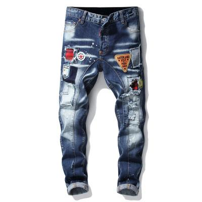 Jeans Badge Broderie pour hommes Trou Washed Jeans Rue lettres Graffiti Jeans Fashion Boy Hip Hop Daily Pants Taille Large