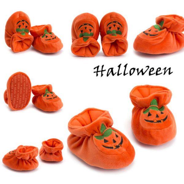 Autumn Cute Baby Halloween Shoes Boy Girl Infant Soft Pumpkin Prewalker Anti-slip Cartoon Orange Pumpkin Crib Shoes