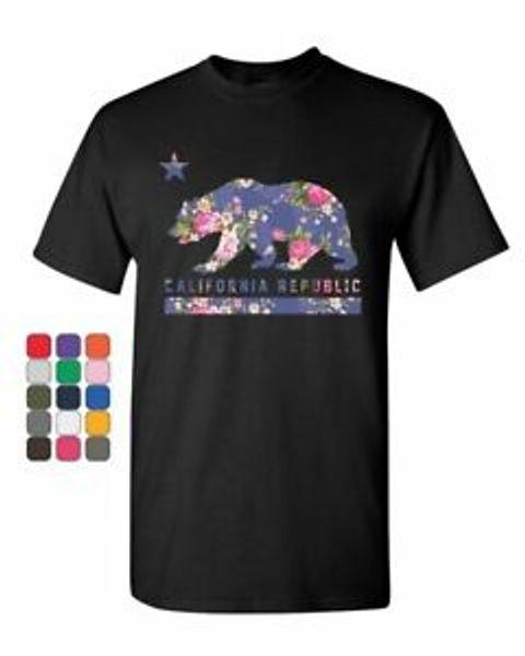 Kaliforniya Cumhuriyeti Çiçek T-Shirt Yıldız Ayı Cali CA West Coast Erkek Tee Gömlek