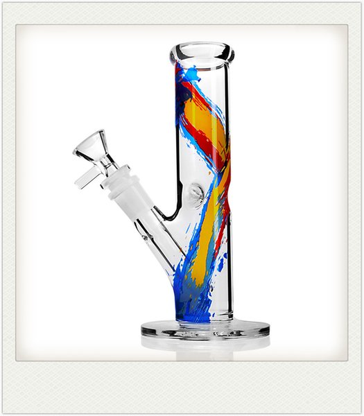 Clear straight pipe glass bong Straight tube smoking Pipe 7.5inch Tall 14mm Oil Painting Color diffuser downstem percolator stylish ice bong