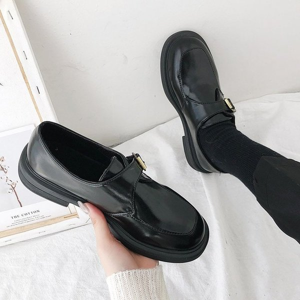 slip on shoes for women round toe british style all-match 2019 fashion women's female footwear oxfords casual sneaker slip-on