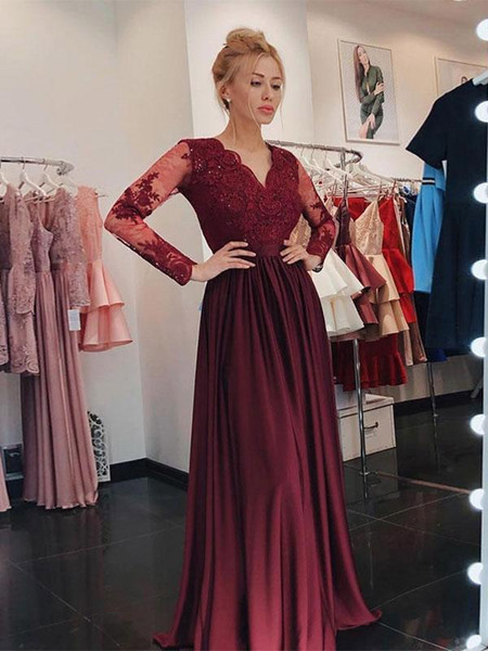 Burgundy Lace Beaded 2019 Evening Dresses Long Sleeves A-line Chiffon V-neck Prom Dresses Vintage Cheap Bridesmaid Formal Party Gowns