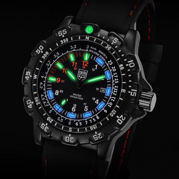 Leuchtender Kompass GMT zwei Zeitkalender Wasserdichte Leuchttaktik im Freien multifunktionale Quarzuhr Herrenmode Sport Silikonuhr