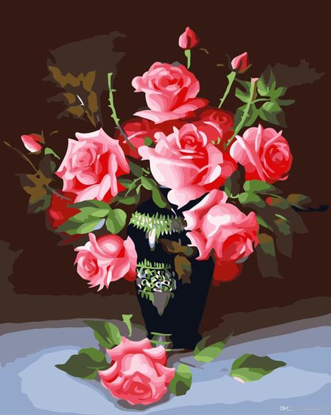 16x20 pollici Fiori primaverili in vaso Dipinto fai da te su tela disegno a mano con numeri kit cornice acrilica per pittura ad olio per teenager adulto